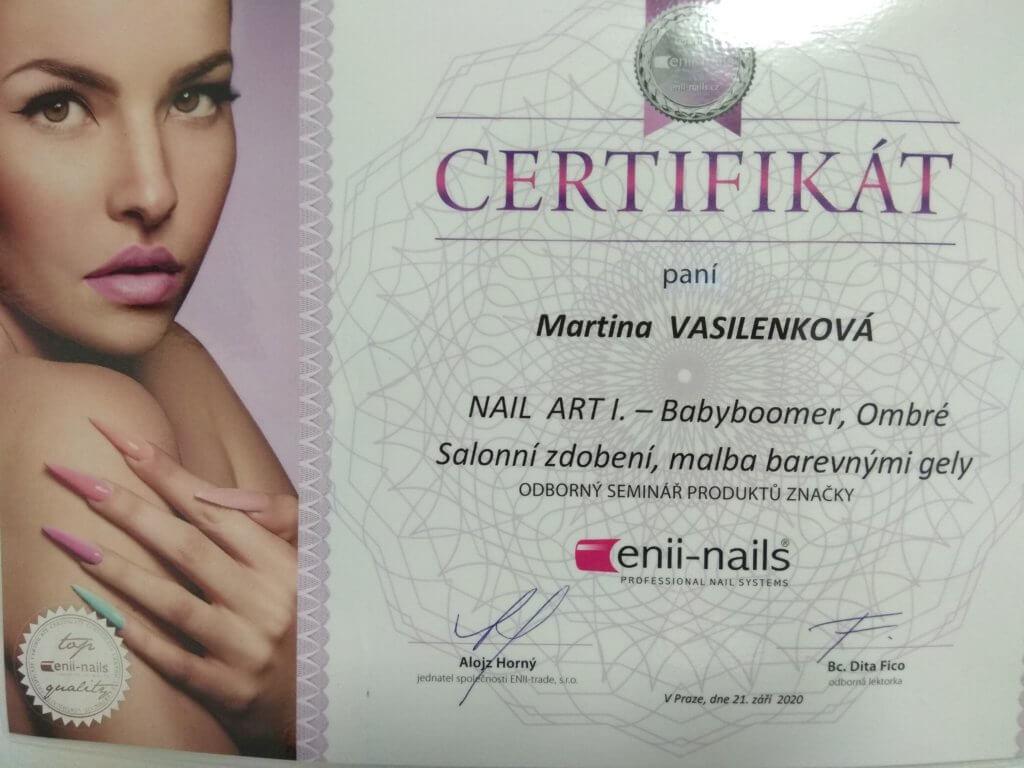 Certifikát modeláž nehtů, salonní zdobení, Ombré, malba barevnými gely